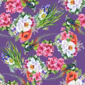 Garden flowers and pheasant birds — Stock Photo