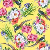 Bahçe çiçek ve sülün kuşları — Stok fotoğraf