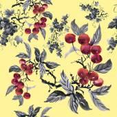 Watercolor garden rowan pattern — Stock Photo