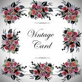 Vintage floral card — Stock Photo