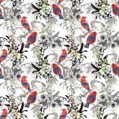 Oiseaux exotiques rouges sur blanc — Photo
