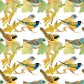 Birds in blooming garden — Stock Vector