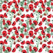 花が咲くと草原パターン — ストックベクタ