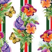 Modello con fiori e farfalle — Vettoriale Stock