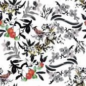 Aquarela aves exóticas no padrão sem emenda de flores sobre fundo branco — Vetor de Stock