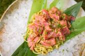 Cold pasta with tuna on ice — Stock Photo