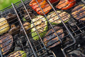 Vegetables char-grilled over flame — Stock Photo