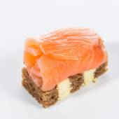 Appetizer. Creative cuisine. Canapes with salmon — Foto Stock