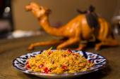 Oriental shah pilaf, pilaw, plov, rice with meat — Стоковое фото