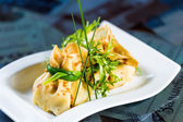 Pancakes with meat decorated green onions — Stock Photo