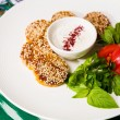 Middle East cuisine. a plate of delicious falafels — Stock Photo #56233395