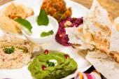 Assorted of oriental food, mezze — Stock Photo