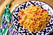 Oriental shah pilaf, pilaw, plov, rice with meat — Stock Photo