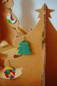 Christmas Tree Made Of Cardboard. New Year — Foto Stock