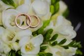 Two wedding rings in infinity sign. Love concept. — Stock Photo