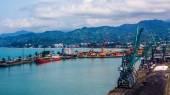 Industrial ship in Batumi port at dusk. Georgia — Stock Photo