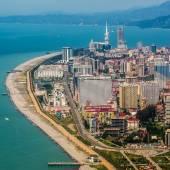Aerial view of  city on Black Sea coast, Batumi, Georgia. — Stock Photo
