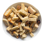 Croutons in a dish — Stock Photo