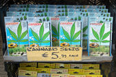 Amsterdam - Cannabis seeds for sale in the street market — Stock Photo