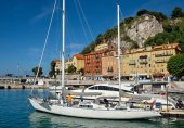 City of Nice - White yachts in the port — Stock Photo