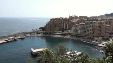 Monaco - View of the Fontvielle harbour — Stockvideo
