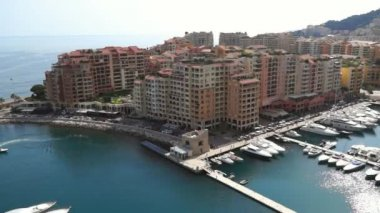 Monaco - View of the Fontvielle harbour — Stock Video