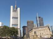 Commerzbank tower and Main Tower — Stock Photo