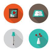 Flat Decor Furniture icons set — Stock Vector