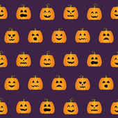 Seamless Halloween Pumpkin Faces pattern — Stok Vektör