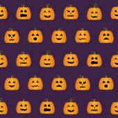 Seamless Halloween Pumpkin Faces pattern — Stock vektor
