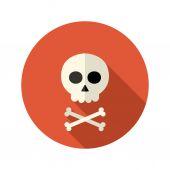 Halloween skull flat circle icon over red — Stockvektor