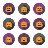 Halloween pumpkins flat circle icons set — Vecteur