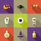 Halloween Squared Flat Icons Set 3 — Stock Vector