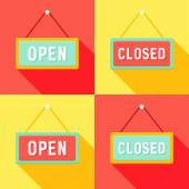 Yellow Red Cyan Open and Closed Signs Set — Stock Vector