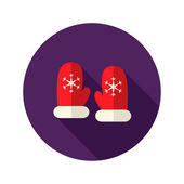 Christmas Red Santa Claus Gloves with Snowflakes Flat Icon — Wektor stockowy