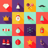 Christmas Square Flat Icons Set 1 — Vettoriale Stock
