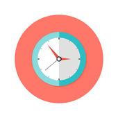 Clock Flat Circle Icon — Stock Vector