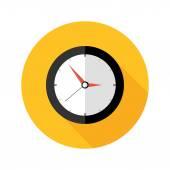 Deadline Clock Flat Circle Icon — Stock Vector