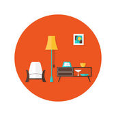 Living Room Flat Circle Icon over Red — Stockvektor