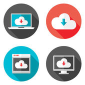 Cloud Services Flat Icons with Shadows Set — Stock Vector