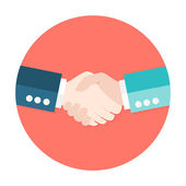 Two Businessmen Shaking Hands Flat Circle Icon — Stock Vector