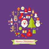Christmas Card with Flat Icons Set and Santa Claus Purple — Stock Vector