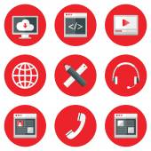 Website Icons Set over Red — Stock Vector