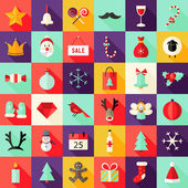 Big Christmas Squared Flat Icons Set 1 — Stock Vector