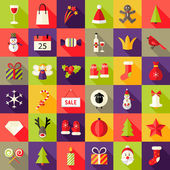 Big Christmas Squared Flat Icons Set 2 — Stock Vector