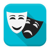 Drama mask app icon with long shadow — Stock Vector