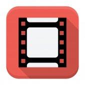 Filmový pás plochý app ikonka s dlouhý stín — Stock vektor