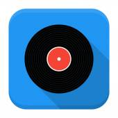 Music vinyl record flat app icon with long shadow — Stock vektor