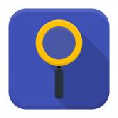 Magnifying glass app icon with long shadow — Stock Vector
