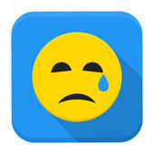 Crying yellow smile app icon with long shadow — Stock Vector